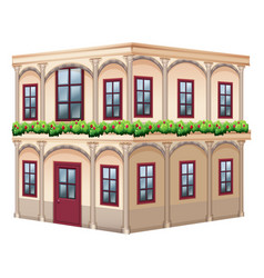 Old fashioned style building with red door vector