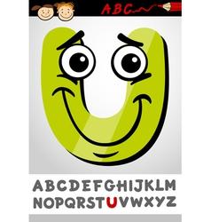 funny letter u cartoon vector image