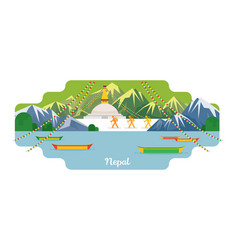 nepal travel and attraction landmarks vector image