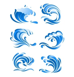 Blue curling ocean waves vector