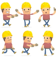 Set of builder character in different poses vector