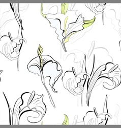 Seamless background with calla lilies flowers vector