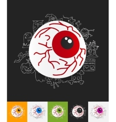 Eye paper sticker with hand drawn elements vector
