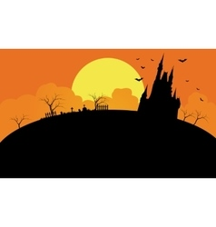 Silhouette of castle at the afternoon vector