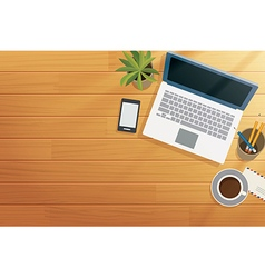 top view office wooden desk in morning vector image