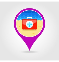 First aid pin map icon summer vacation vector