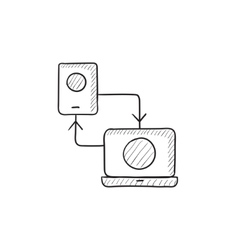 Synchronization phone with laptop sketch icon vector