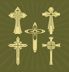 A set of christian crosses vector