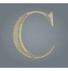 Abstract golden letter c vector