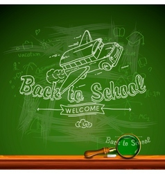 Back to school chalk-writing on blackboard vector