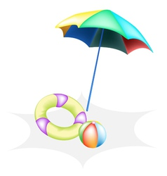 Beach Ball with Inflatable Ring and Umbrella vector image