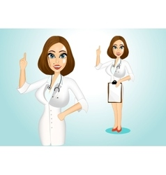 beautiful doctor giving a thumbs up vector image