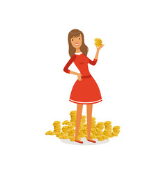 beautiful young successful rich woman character in vector image vector image