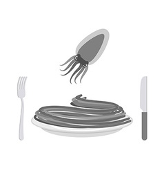 Black pasta with cuttlefish ink ingredient vector image vector image