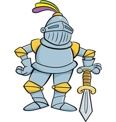 Cartoon Knight Leaning on a Sword vector image