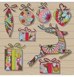 Christmas set on wooden background vector image vector image