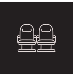Cinema chairs sketch icon vector image vector image