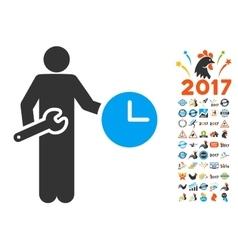 Clock serviceman icon with 2017 year bonus symbols vector