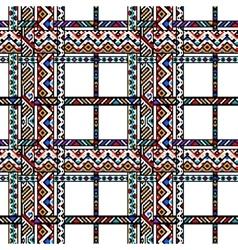 Colorful ethnic geometric aztec tartan seamless vector