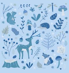cute hand drawn winter forest children vector image