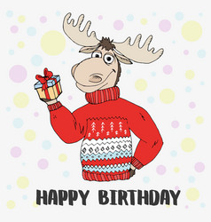 doodle cute moose sweater gift vector image vector image