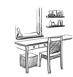 Dressing table with mirror sketch vector