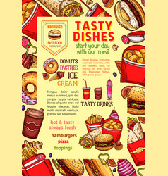 Fast food dishes and fastfood meals poster vector