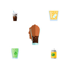 Flat icon beverage set of carbonated cup vector