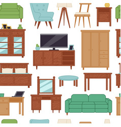 Furniture interior home design modern living room vector