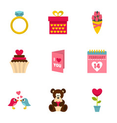 Gift for valentine day icons setflat style vector