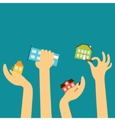 Hands of the sellers or buyers reach various cute vector