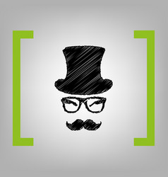 Hipster accessories design black scribble vector