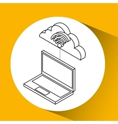 Laptop cloud technology wifi vector