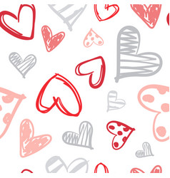 pattern with colorful hearts doodle seamless vector image