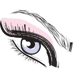 Pink purple blue female closed female eye vector