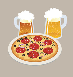 pizza and two draft beers in isometric 3d style vector image vector image