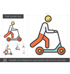 Push scooter line icon vector
