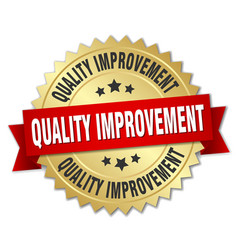 Quality improvement round isolated gold badge vector
