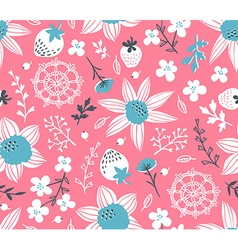 Seamless pattern with flowers leaves berries and vector