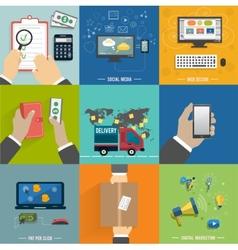 Seo social media Internet shopping process vector image vector image