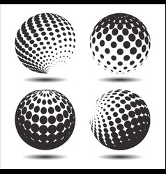 set abstract halftone 3d spheres 26 vector image