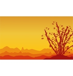 Silhouette of bamboo landscape chinese theme vector