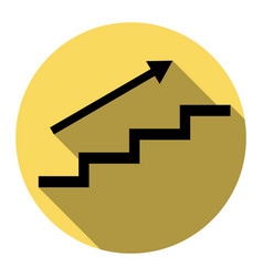 Stair with arrow flat black icon with vector