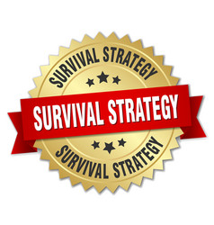 Survival strategy round isolated gold badge vector
