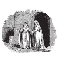 The visitation - mary departs from elizabeths vector