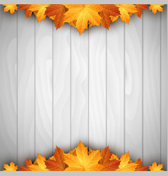 wooden background with autumn leaves place for vector image