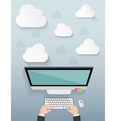 Workplace with cloud idea on blue background vector