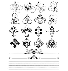 Collection of ornaments and brushes for design vector