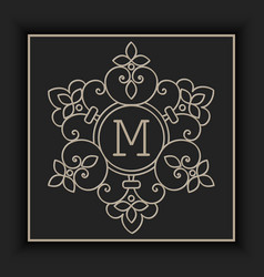 Floral and geometric monogram frame vector