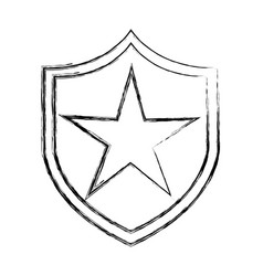 Justice shield with stars isolated icon vector